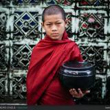 Giovane monaco all'alba