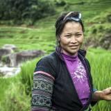 Vietnam - Donna della tribù Black Hmong nelle risaie di Sapa.