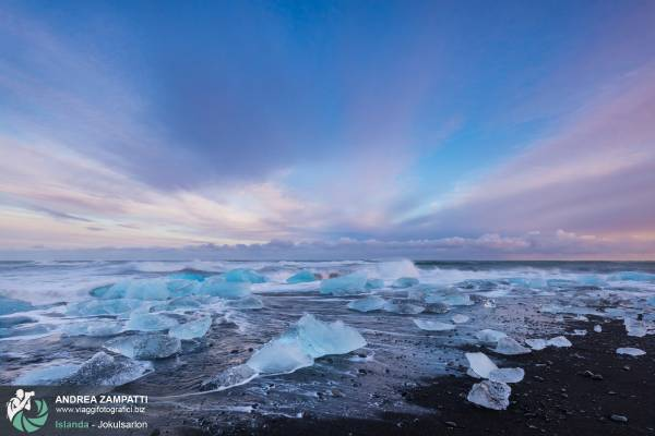 Jokulsarlon: foto della laguna glaciale di Jokulsarlon, Islanda.