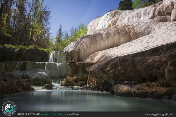 Fotografie dei famosi Bagni di San Filippo in Val d'Orcia, Toscana