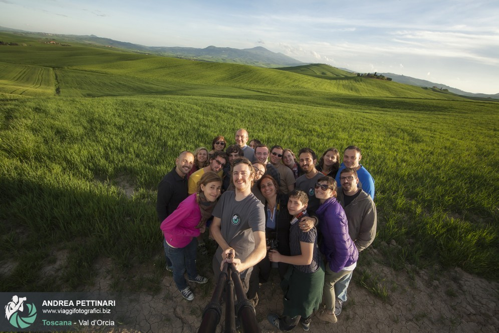 Selfie di gruppo in val d'orcia