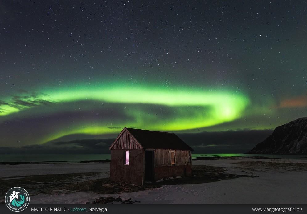 Aurora boreale alle Lofoten.