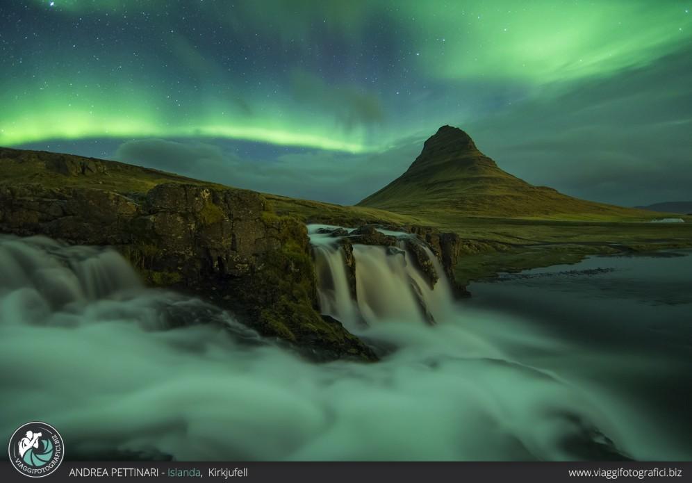 Aurora boreale nelle penisola di Snæfellsnes, Islanda.