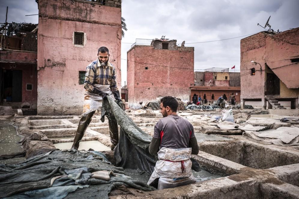 Marocco, concerie di Marrakech.