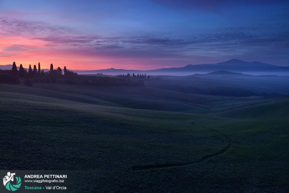 Fotografia Val d'Orcia all'alba.
